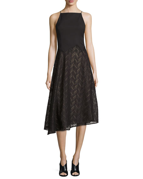 Jason Wu Sleeveless Herringbone Lace Dress, Black