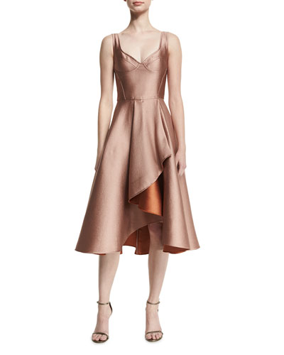 Sleeveless Sweetheart-Neck Cocktail Dress, Fawn/Adobe