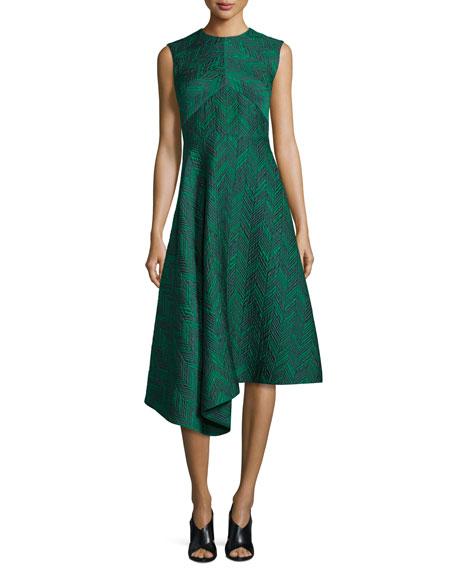 Jason Wu Sleeveless Herringbone Cocktail Dress, Jade