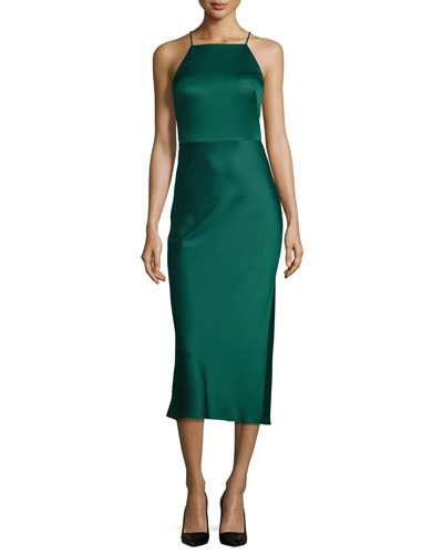 Sleeveless Halter-Neck Charmeuse Cocktail Dress, Jade