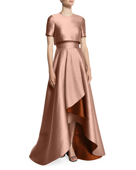 Popover-Bodice Two-Tone Evening Gown, Fawn/Adobe