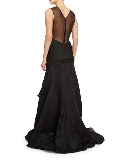 Sleeveless V-Neck Plisse Gown, Black