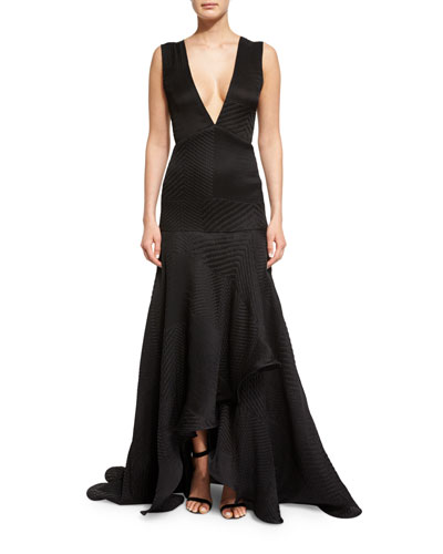 Sleeveless V-Neck Plisse Gown, Black