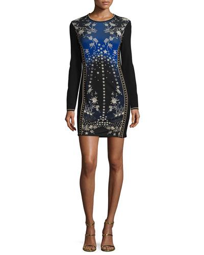 Star-Print Long-Sleeve Knit Dress, Blue/Multi