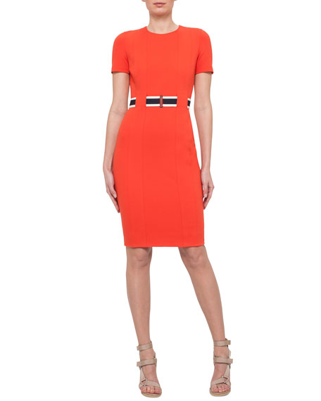 Akris punto Short-Sleeve Belted Sheath Dress, Rust