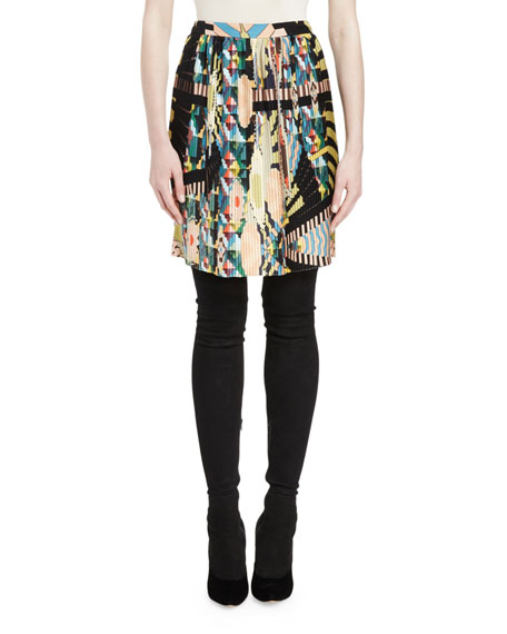 Givenchy Crazy Cleopatra-Print Slim Skirt, Multi Colors
