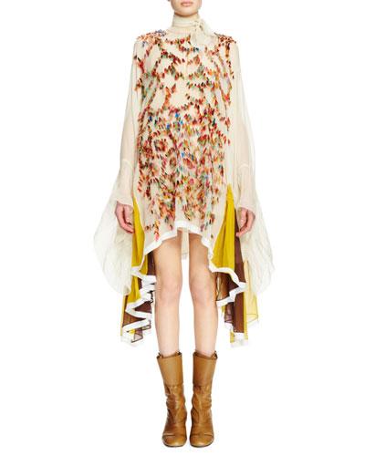 Tie-Neck Long-Sleeve Embroidered Dress, Vanilla