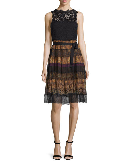 Etro Paisley Tiered-Lace Sleeveless Dress, Black/Gold