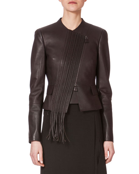 Akris Embroidered-Front Leather Jacket, Date