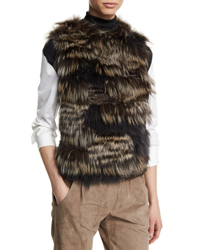 Patchwork-Fur Cashmere Vest, Volcano