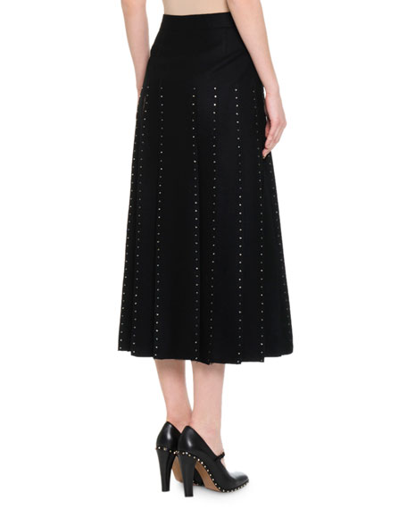 valentino calf length pleated skirt w edge tulle