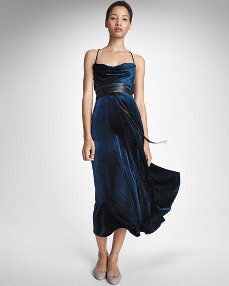 Sleeveless Crisscross-Back Midi Dress, Navy