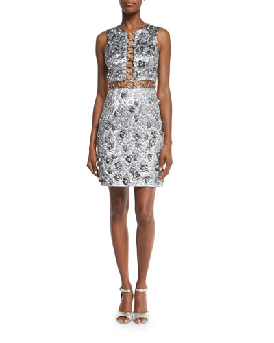 Sleeveless Floral-Appliqué Metallic Dress, Silver