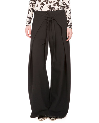 Wide-Leg Wrap-Front Trousers, Black
