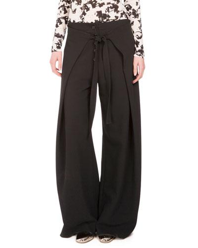 Wide-Leg Wrap-Front Trousers, Black