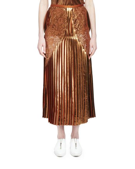 Stella McCartney Gianna Metallic Pleated Lace-Trim Skirt, Sienna