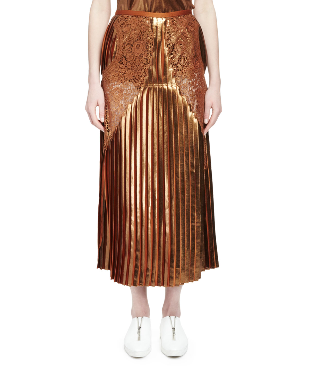 6b812869df Stella McCartney Gianna Metallic Pleated Lace-Trim Skirt, Sienna ...