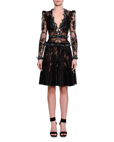 Long-Sleeve Embellished-Butterfly Lace Dress, Black