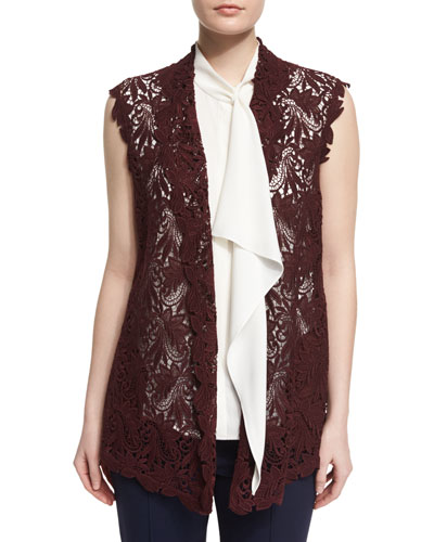 Open-Front Lace Gilet, Dark Red