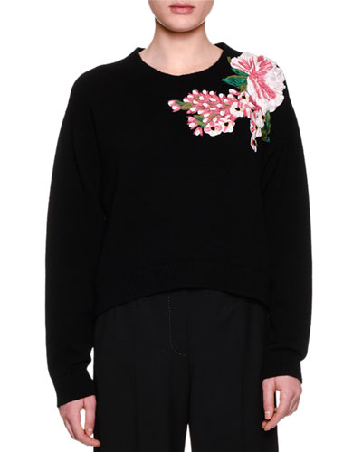 Jewel-Neck Floral-Embellished Sweater, Black