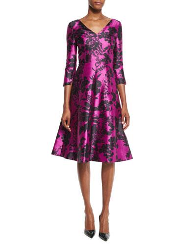 Floral 3/4-Sleeve V-Neck Dress, Fuchsia