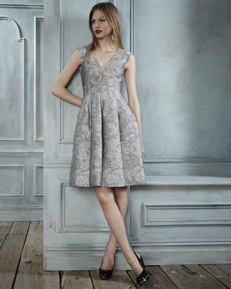 Flora-Jacquard Sleeveless V-Neck Dress, Dove