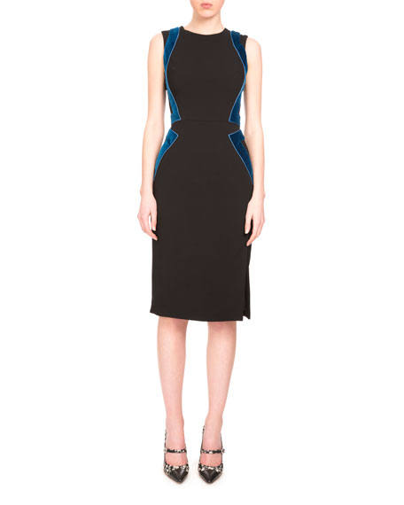 Allie Sleeveless Combo Sheath Dress, Black