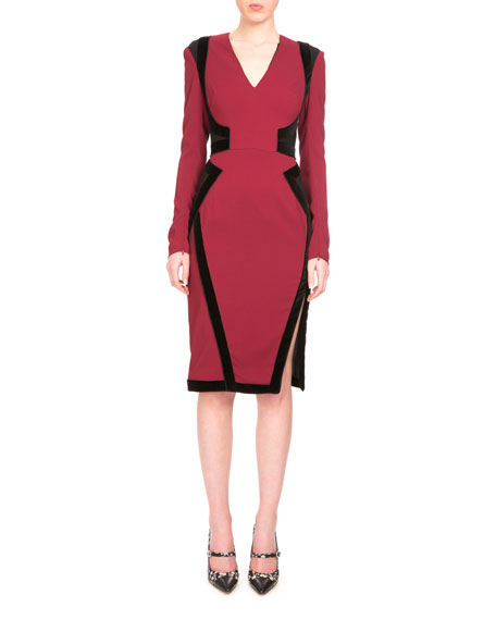 Altuzarra Becca Long-Sleeve Two-Tone Dress, Burgundy