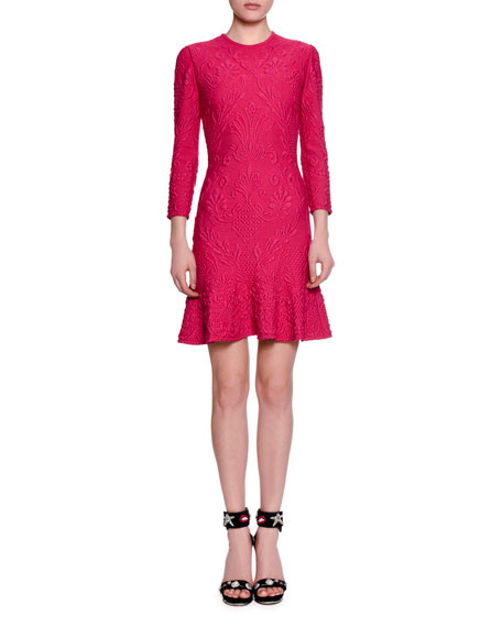 3/4-Sleeve Quilted Flirty-Hem Dress, Shocking Pink