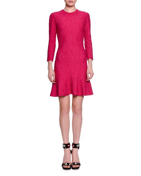 3/4-Sleeve Quilted Flirty-Hem Dress, Shocking Pink