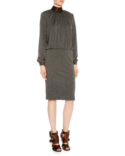 Mock-Neck Blouson Combo Dress, Gray Melange