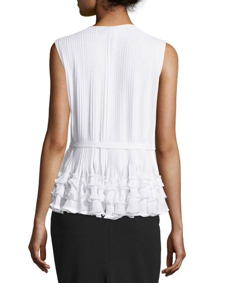 Sleeveless Button-Front Belted Blouse, Ivory