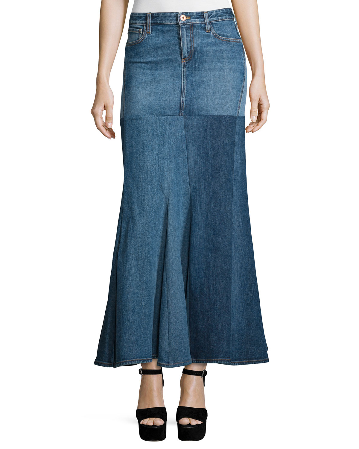 d6d42cc7aa174 Roberto Cavalli Five-Pocket Denim Godet Maxi Skirt, Washed Indigo ...