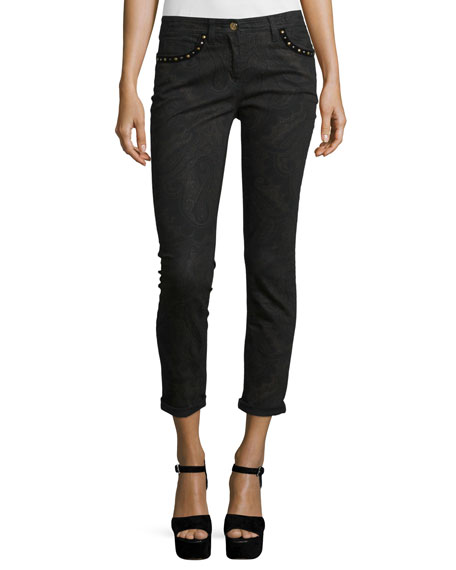 Etro Studded Paisley Skinny Jeans, Black/Brown