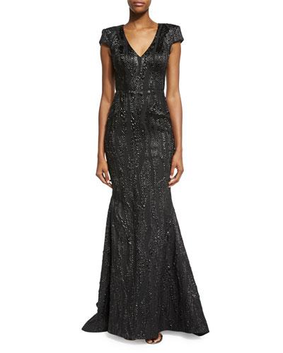 Cap-Sleeve V-Neck Embellished Gown, Black/Silver