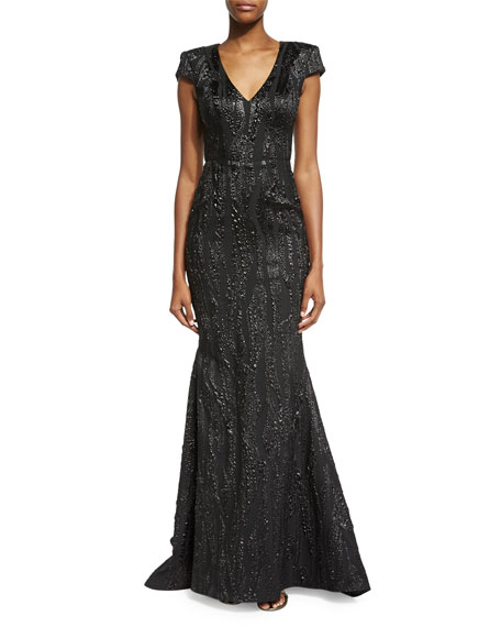 Cap-Sleeve V-Neck Embellished Gown, Black/Silver