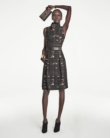 Sleeveless Gnu-Print Belted Dress, Date