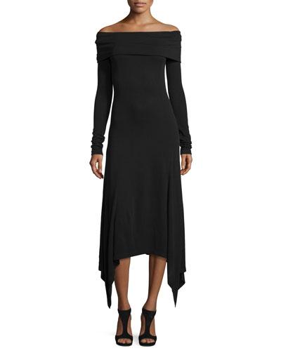 Off-the-Shoulder Handkerchief-Hem Dress, Black