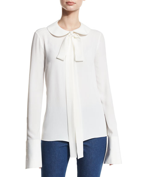 Bow Peter Pan Collar Blouse, White