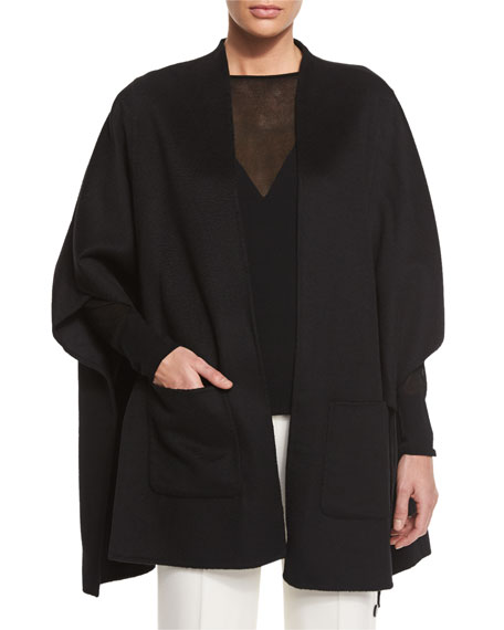 Escada High-Low Side-Button Cape, Black