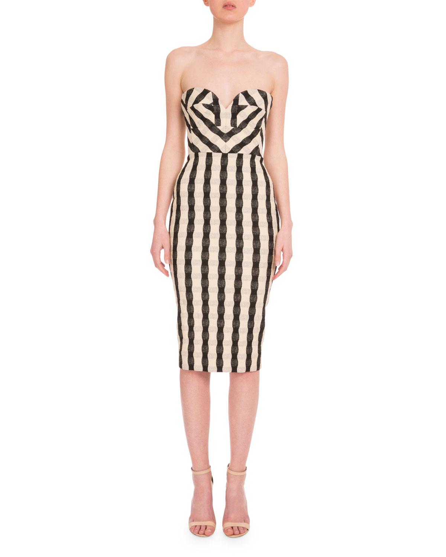 Strapless Wavy Gingham Dress Black White