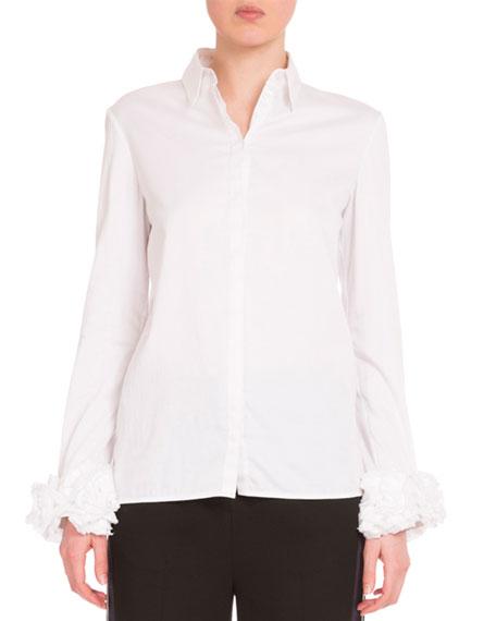 Long-Sleeve Ruffle-Cuff Blouse, White