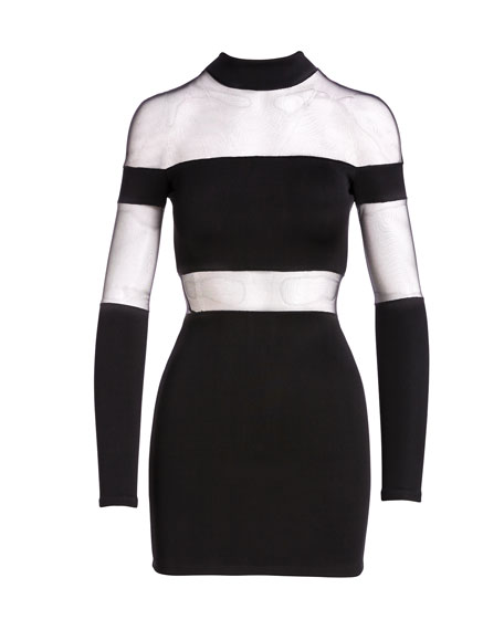 Mock-Neck Sheer-Striped Mini Dress, Black