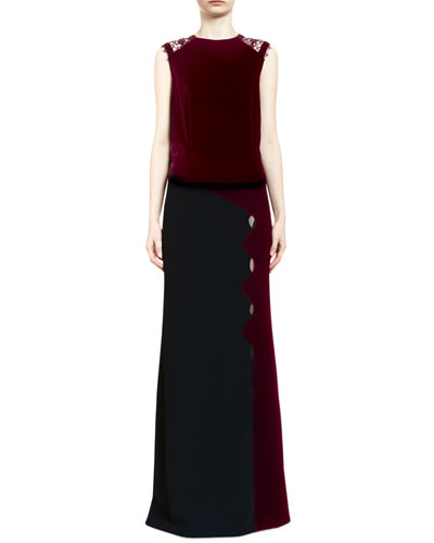 Melroy Wavy-Trim Sleeveless Keyhole Gown, Black/Red