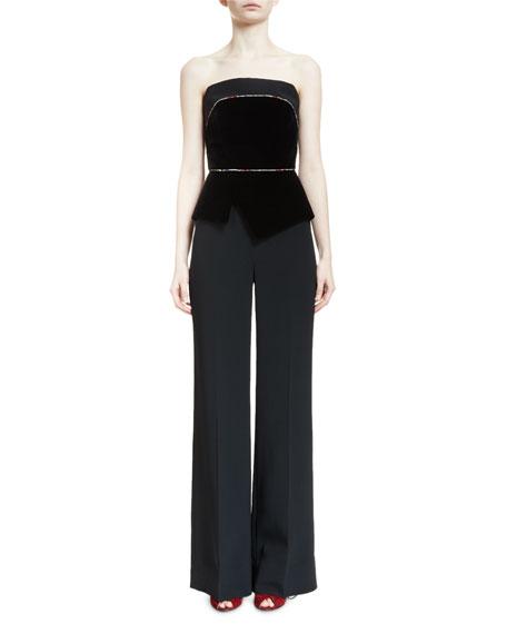 Lyon Strapless Peplum Wide-Leg Jumpsuit, Black/Multi