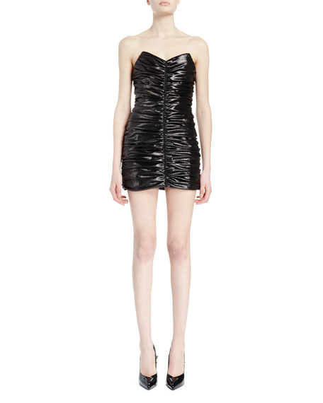 Saint Laurent Strapless Shirred Mini Dress, Black