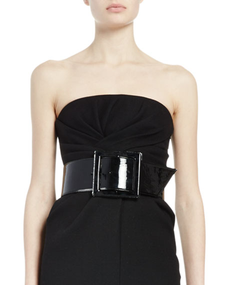 Wide Patent-Leather Belt, Black