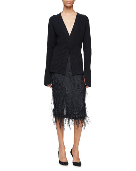 Jason Wu Ribbed Extended-Sleeve Cardigan, Black