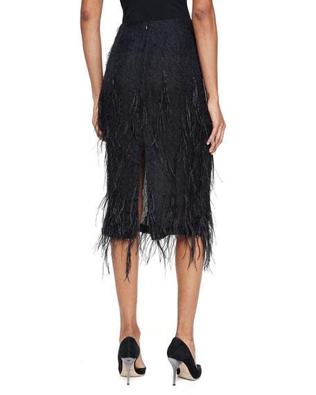 jason wu ostrich feather pencil midi skirt black