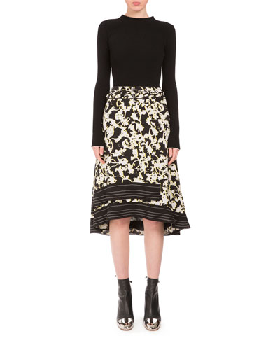 Long-Sleeve Printed-Skirt Combo Dress, Black/White/Yellow Print